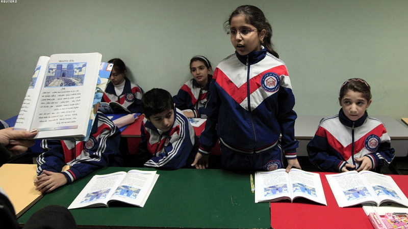Christian students attend a Syriac language class in Baghdad